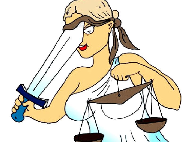 Рисунок: Богиня правосудия - Фемида поправляет повязку, судит неправильно