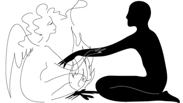 Черная тень мужчины и контур женщины-ангела у огня, костра