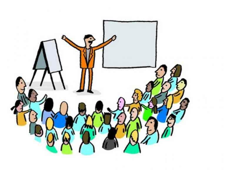 Рисунок: преподаватель стоит перед толпой учащихся